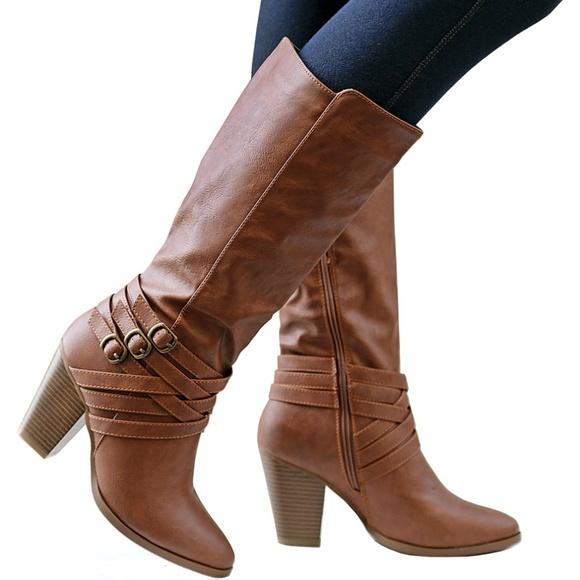 New Tan Criss Cross Mid-Calf Block Heel Boots